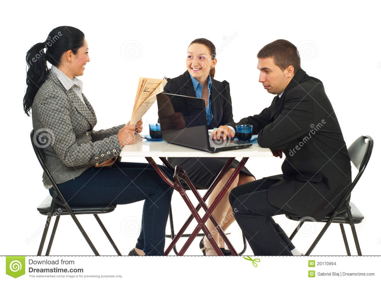 Three business people sitting on chairs in a cafe shop searching on ...