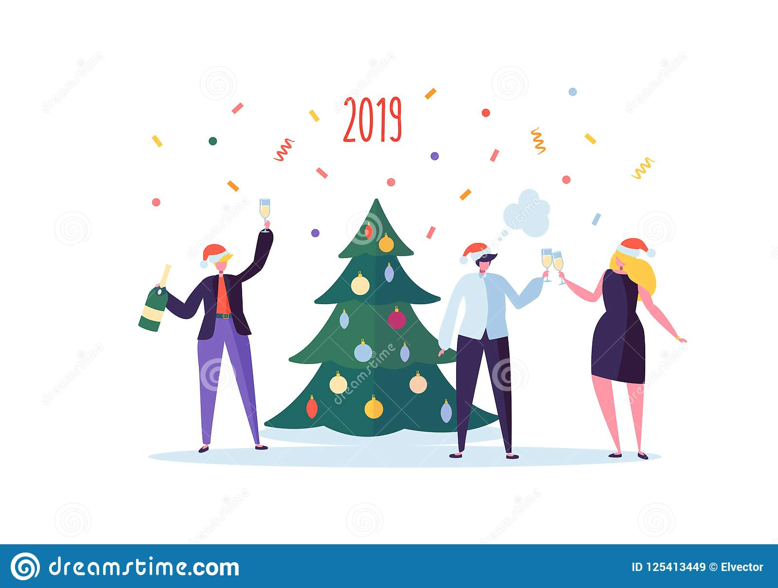Business People Celebrating New Year 2019 Party. Flat Characters In ...