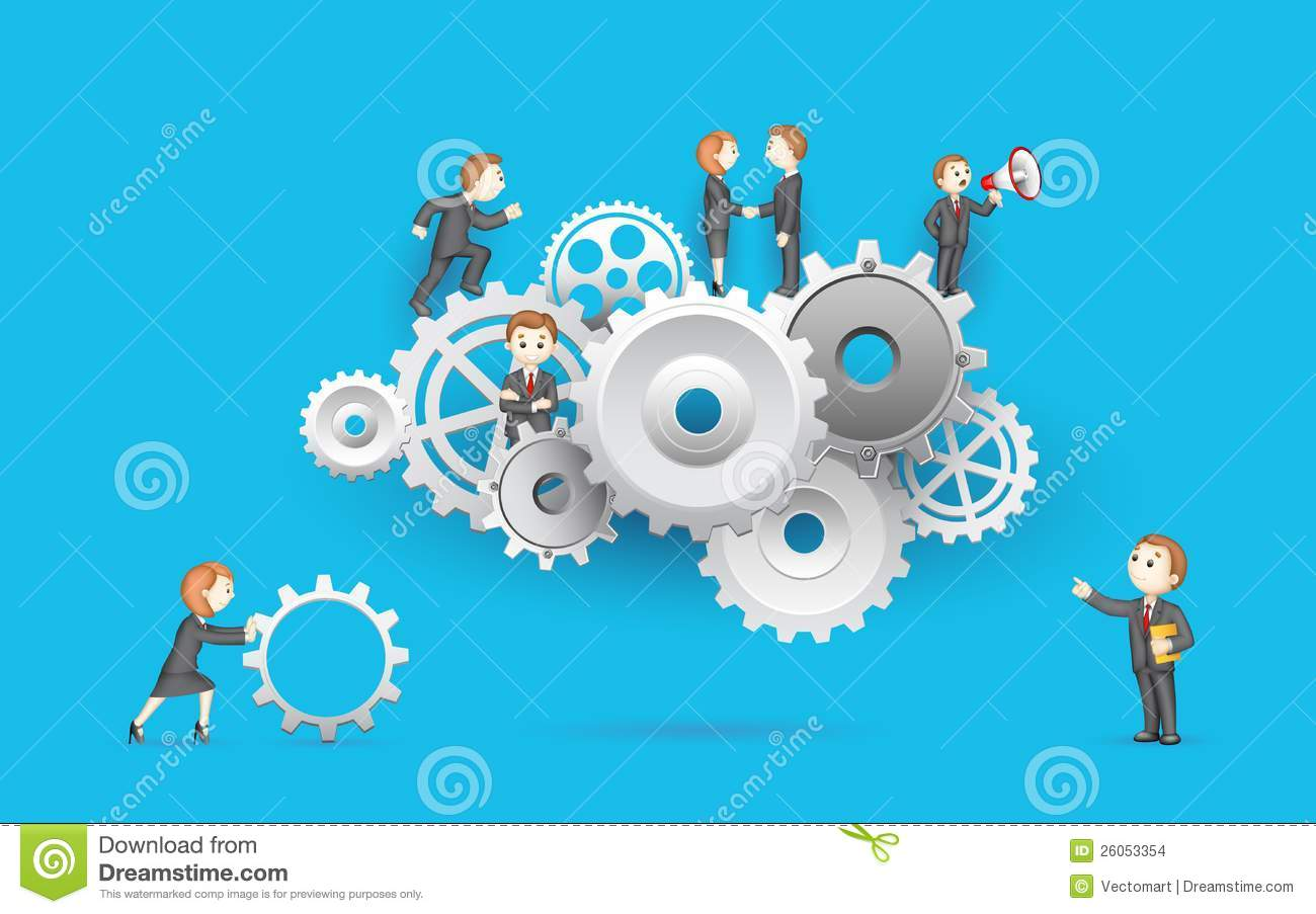 business people on cog wheel stock vector