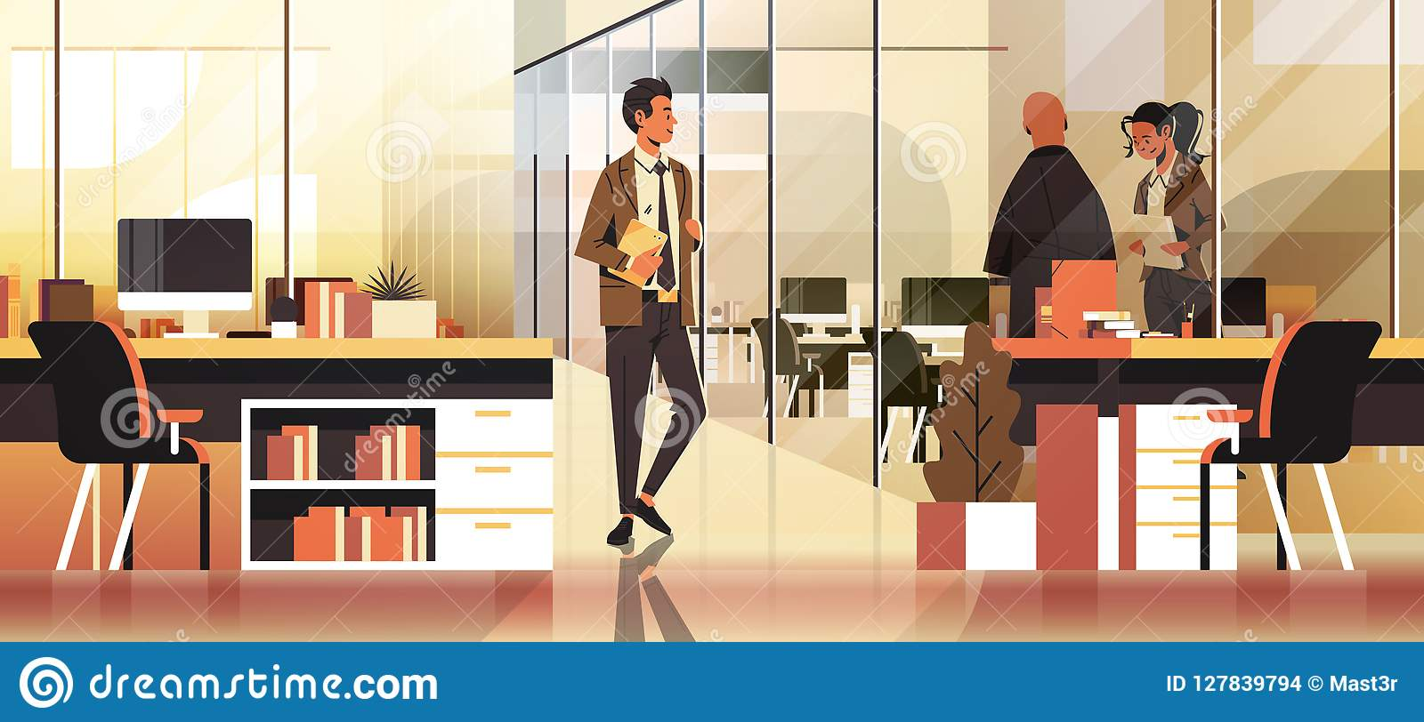 Business people communicating concept modern coworking office interior creative workplace male female cartoon character