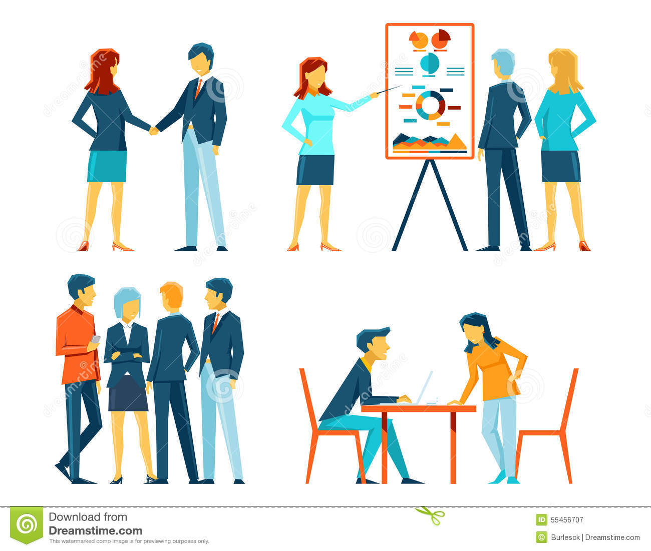 Business people in different poses. Office person, manager and ... Business Meeting Handshake