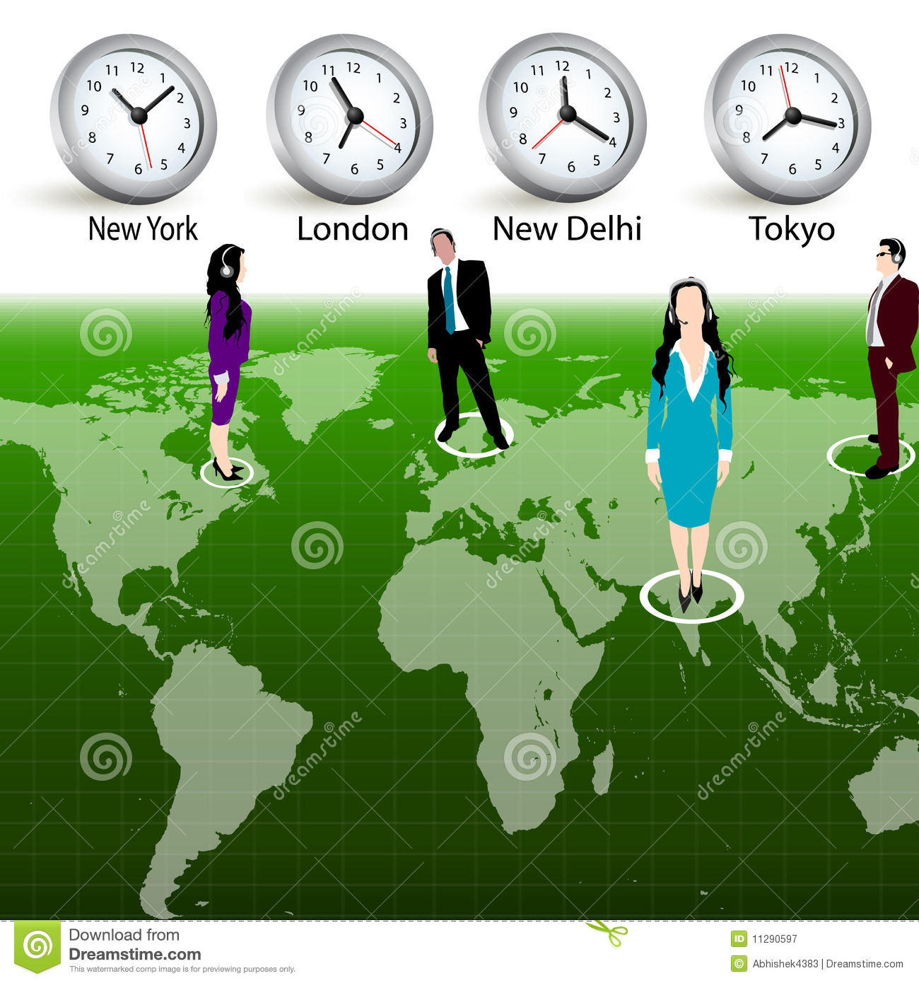 Business people different time zones stock illustration for Time for business