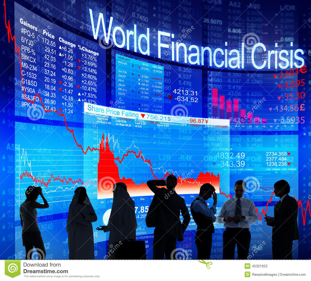 Business People Discussing About World Financial Crisis