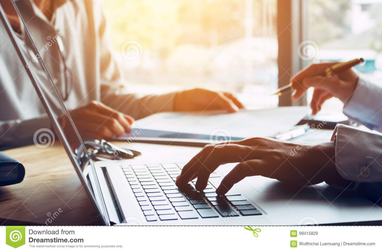 Business people or doctor talking to customer and using laptop a