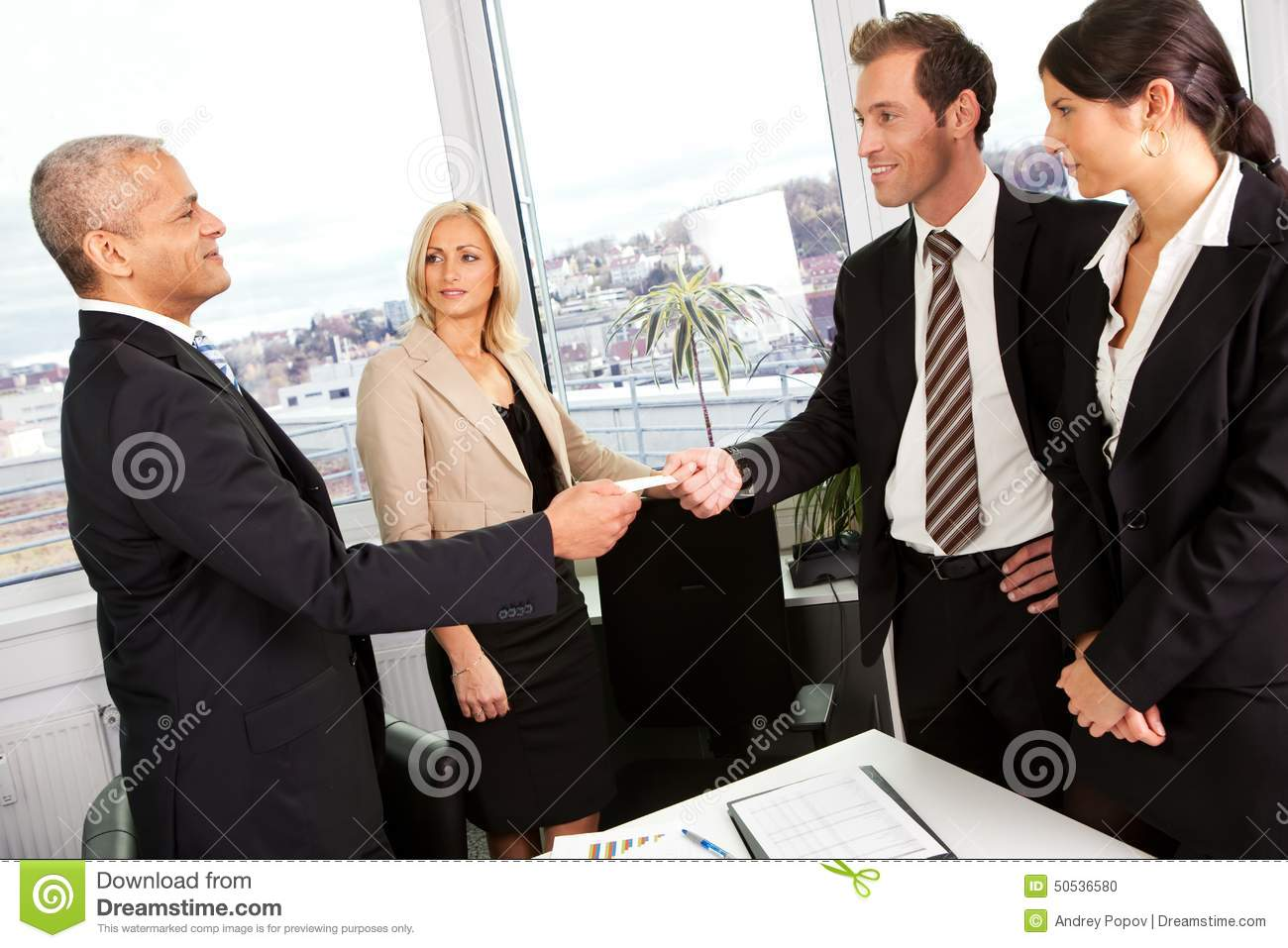 Business People Exchange Business Cards Stock Photo - Image of ...