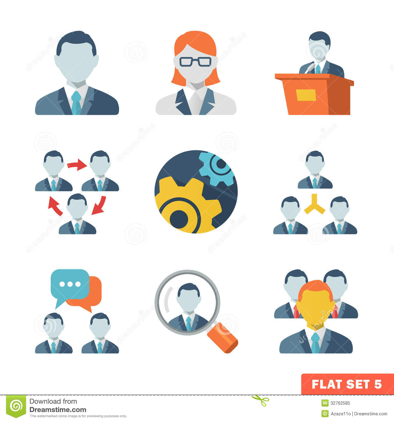 Business People Flat Icons Royalty Free Stock Photo - Image: 32762585