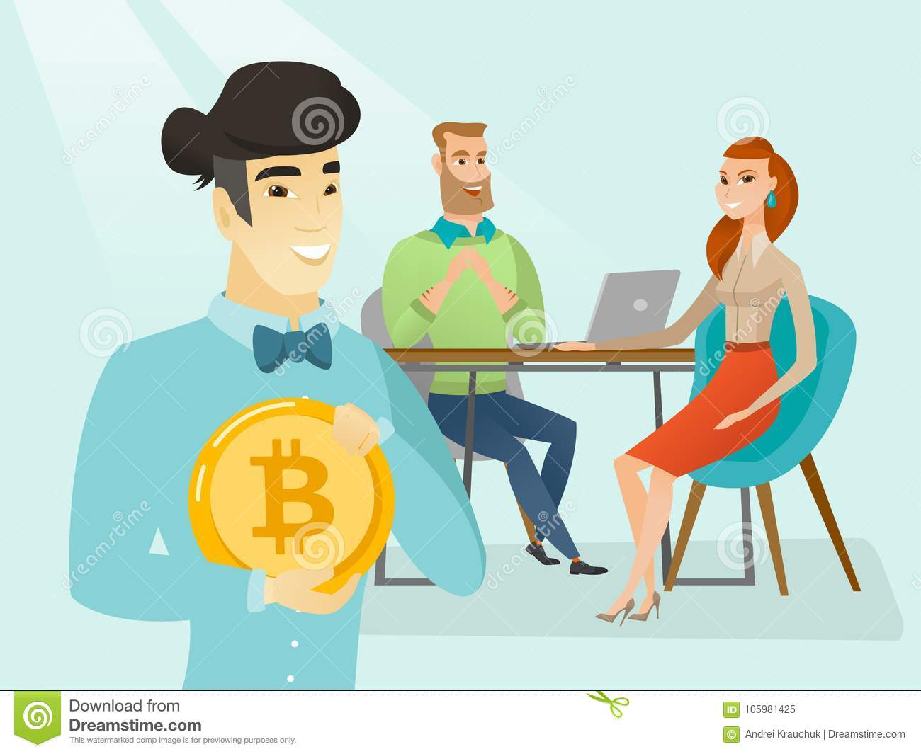 Business People Getting Bitcoin Coin For Start Up. Stock Vector - Illustration of businessman ...