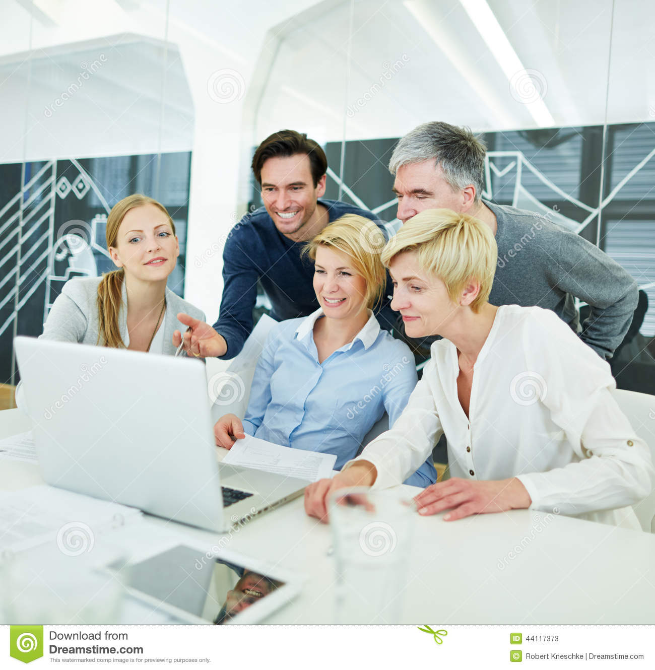Business People Getting Computer Stock Image