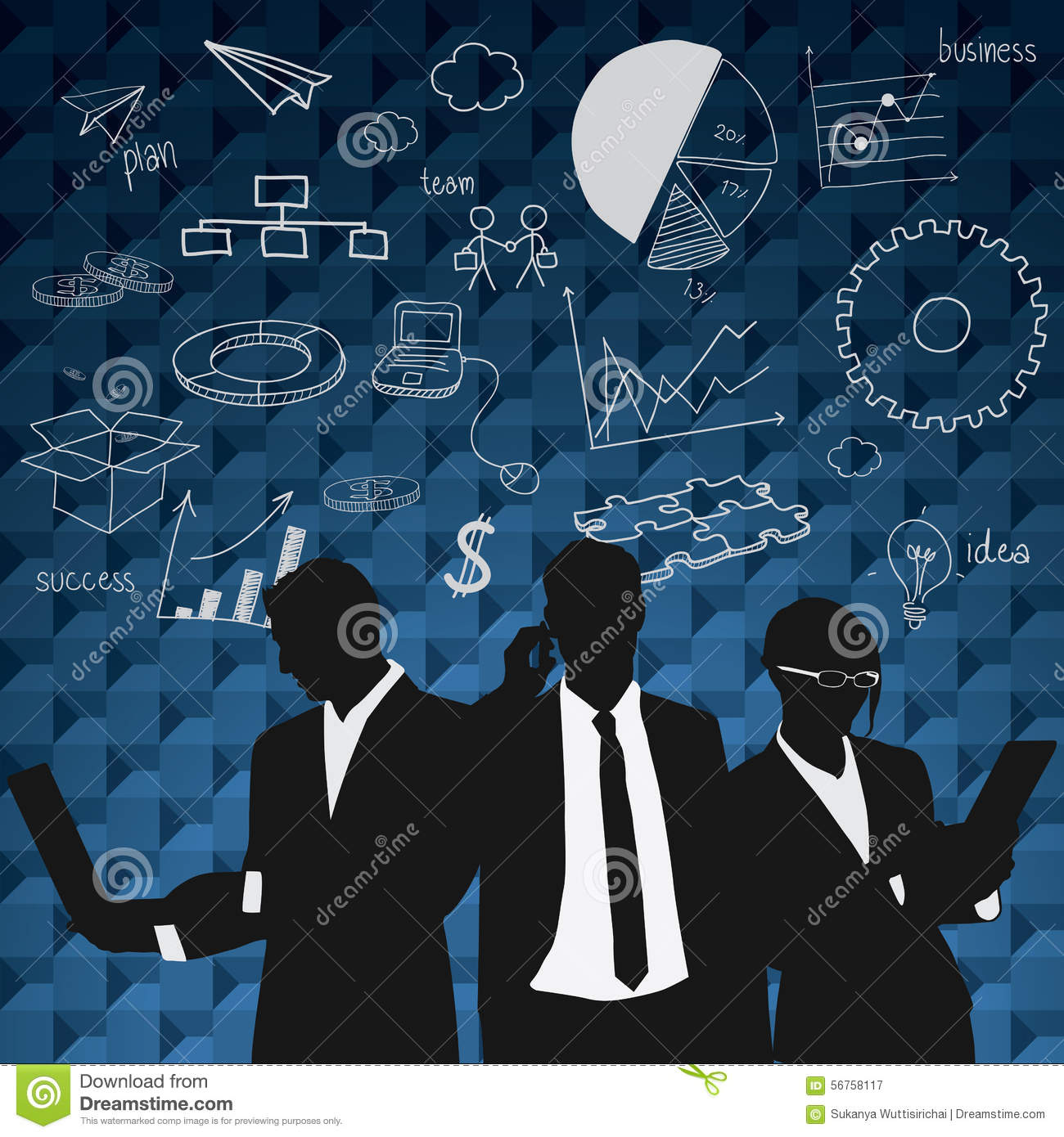 Business People Group Black Silhouette With Chart Diagram