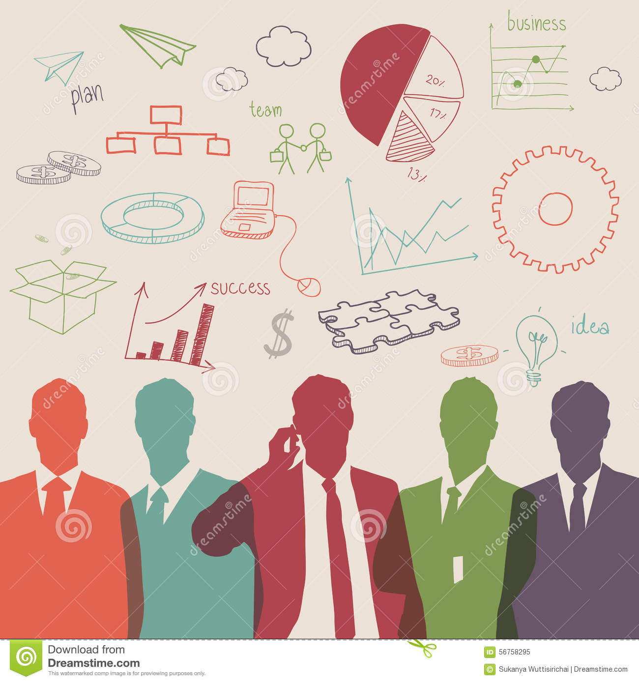 Business People Group Color Silhouette With Chart Diagram