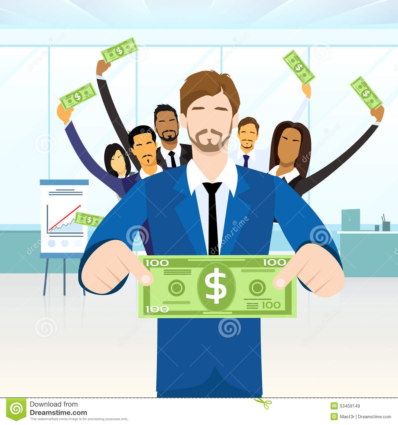 Business People Group Hold One Hundred Dollar