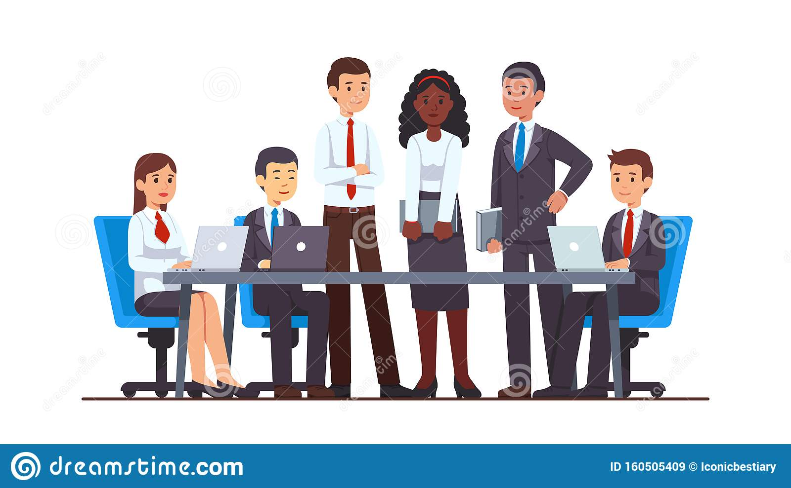 Business People Group Meeting At Big Office Desk Stock Vector Illustration Of Multiethnic Coworkers 160505409