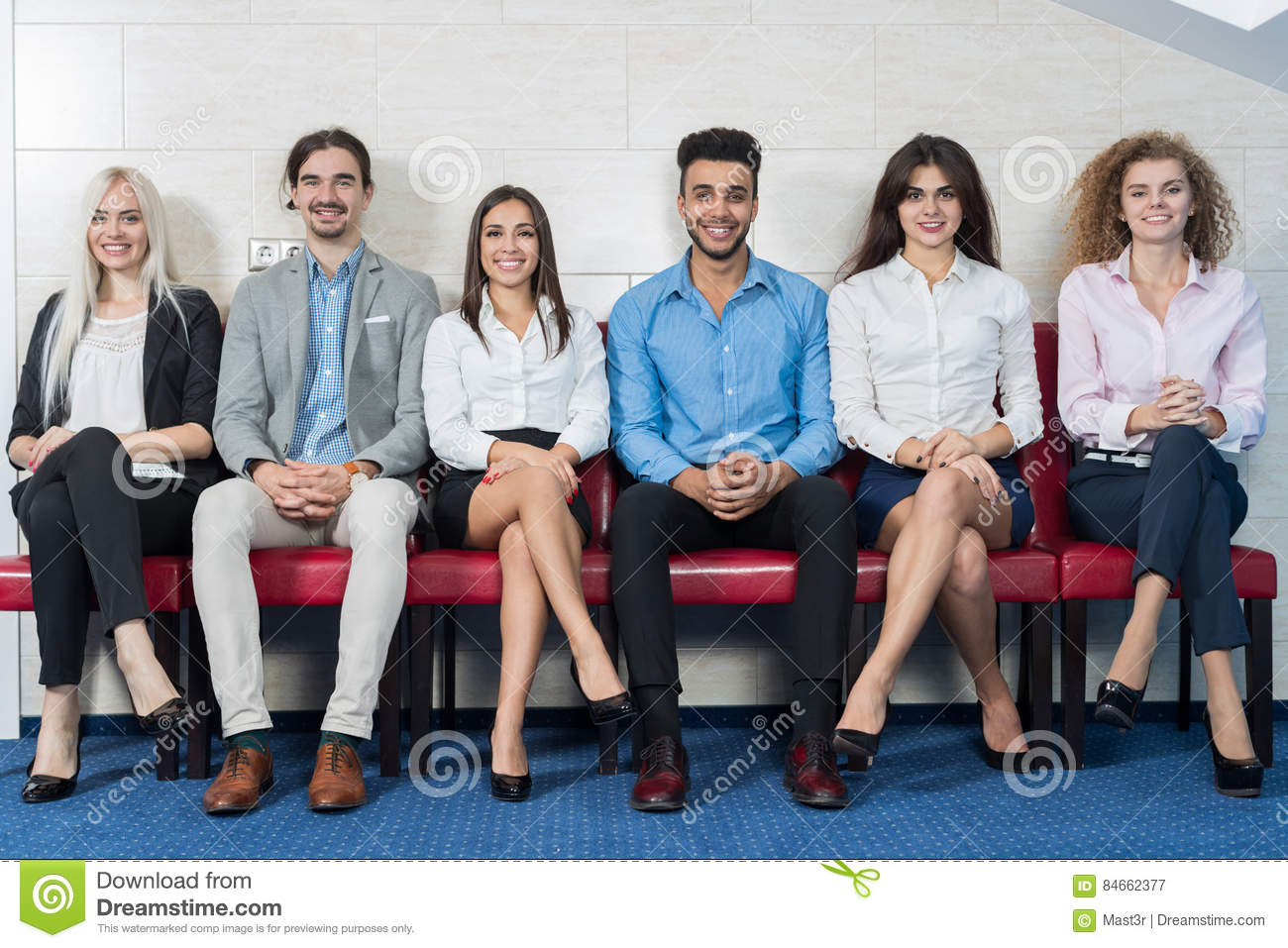 Business People Group Meeting Sitting In Line Queue, Businesspeople Crowd Recruitment Waiting for Job Interview