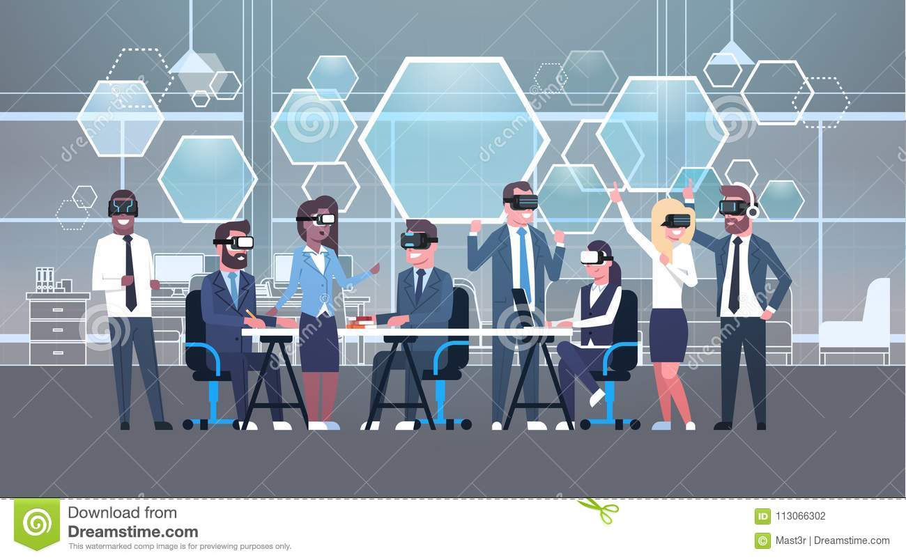 Business People Group Wearing Vr Headset During Brainstorming, Team In 3d Glasses On Meeting Virtual Reality Technology