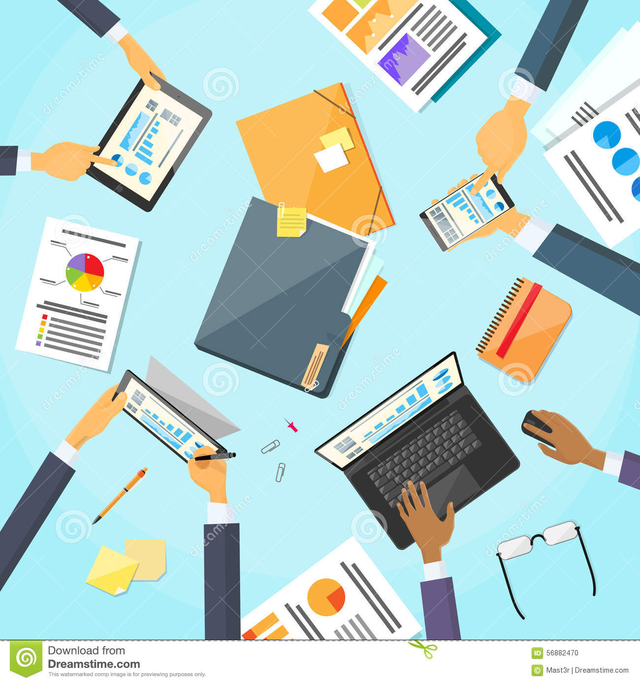 business people hands desk workplace team working stock vector business people hands desk workplace team working