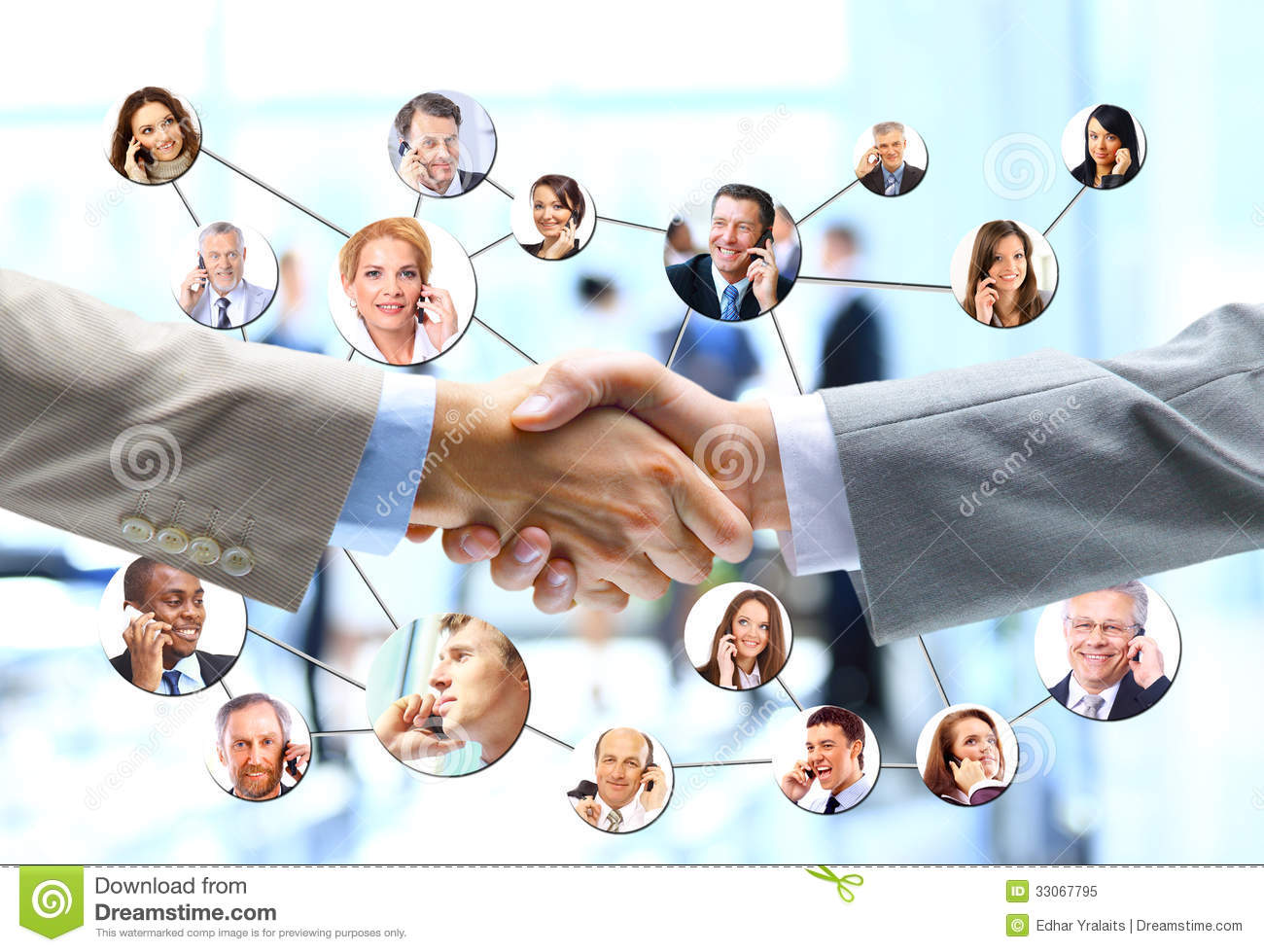 Business people handshake with company team