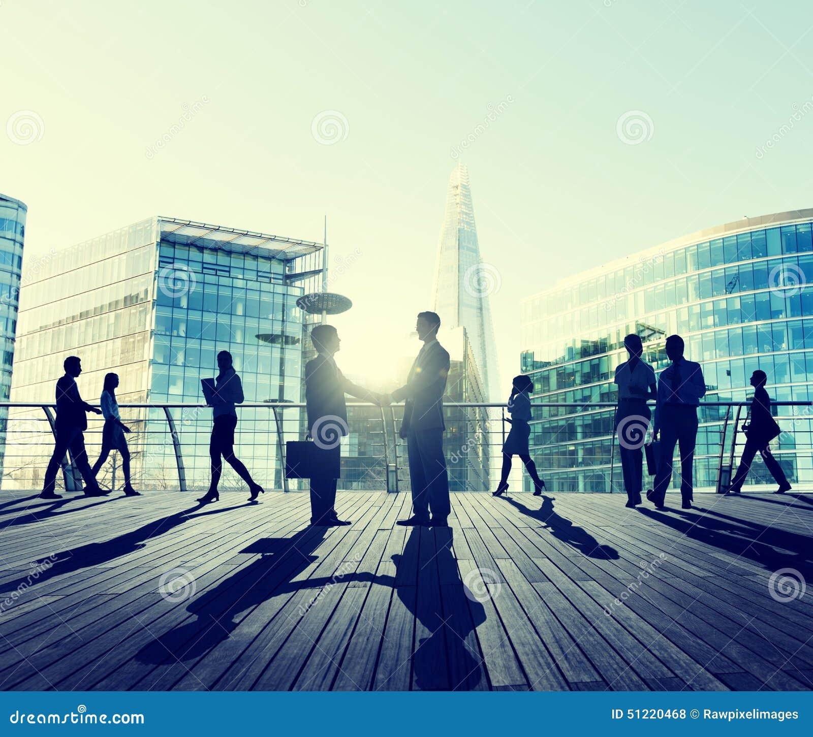 Business People Handshake Greeting Agreement Talking Deal