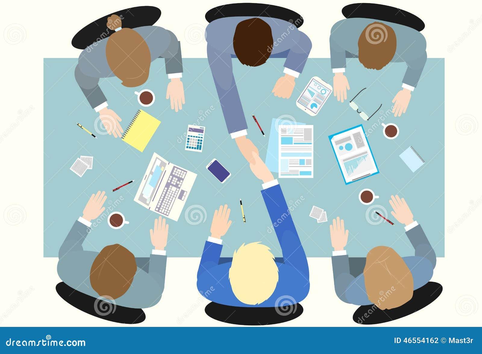 Business People Handshake Top Angle View Stock Vector