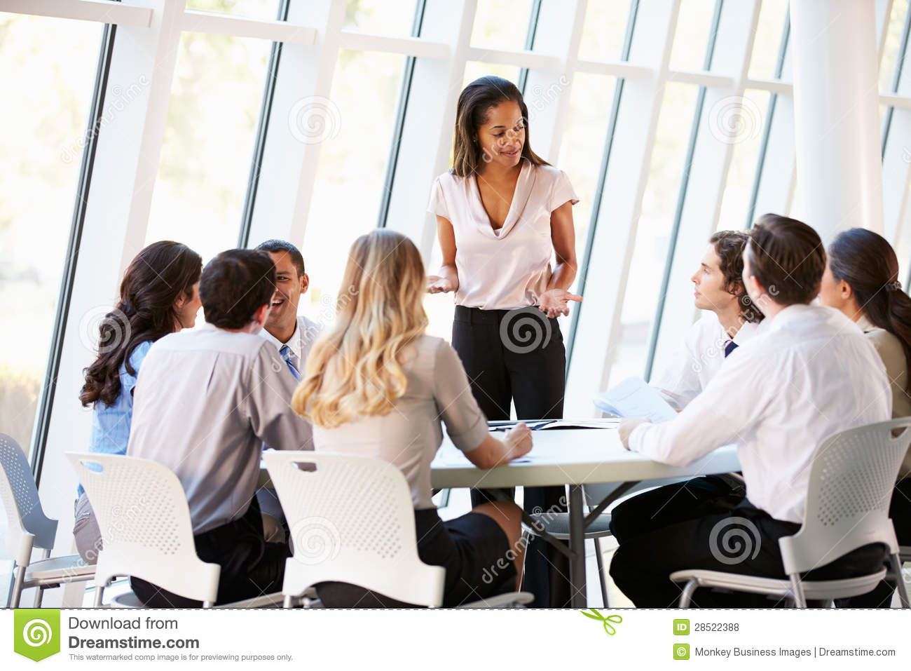 ... Stock Photos: Business People Having Board Meeting In Modern Office