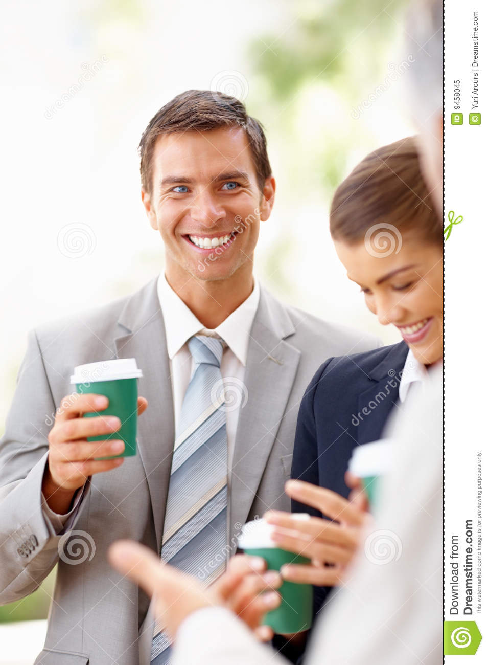 Royalty Free Stock Photo: Business people having coffee ...