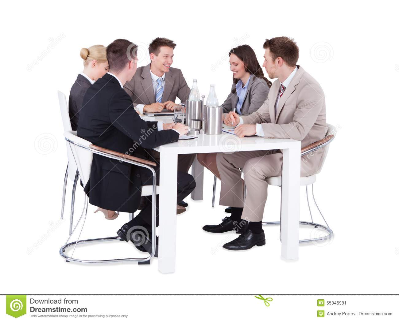 Office chair vector png - Business People Having Conference Meeting Over White