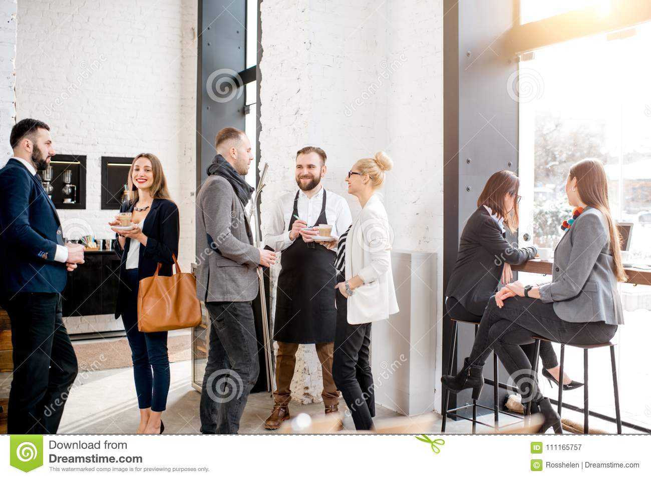 Business People In The Cafe Stock Image Image Of Meeting Order 111165757