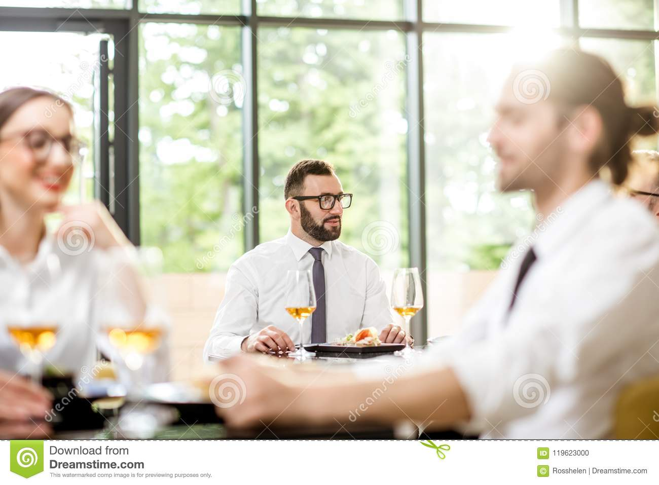 Business people during a lunch at the restaurant