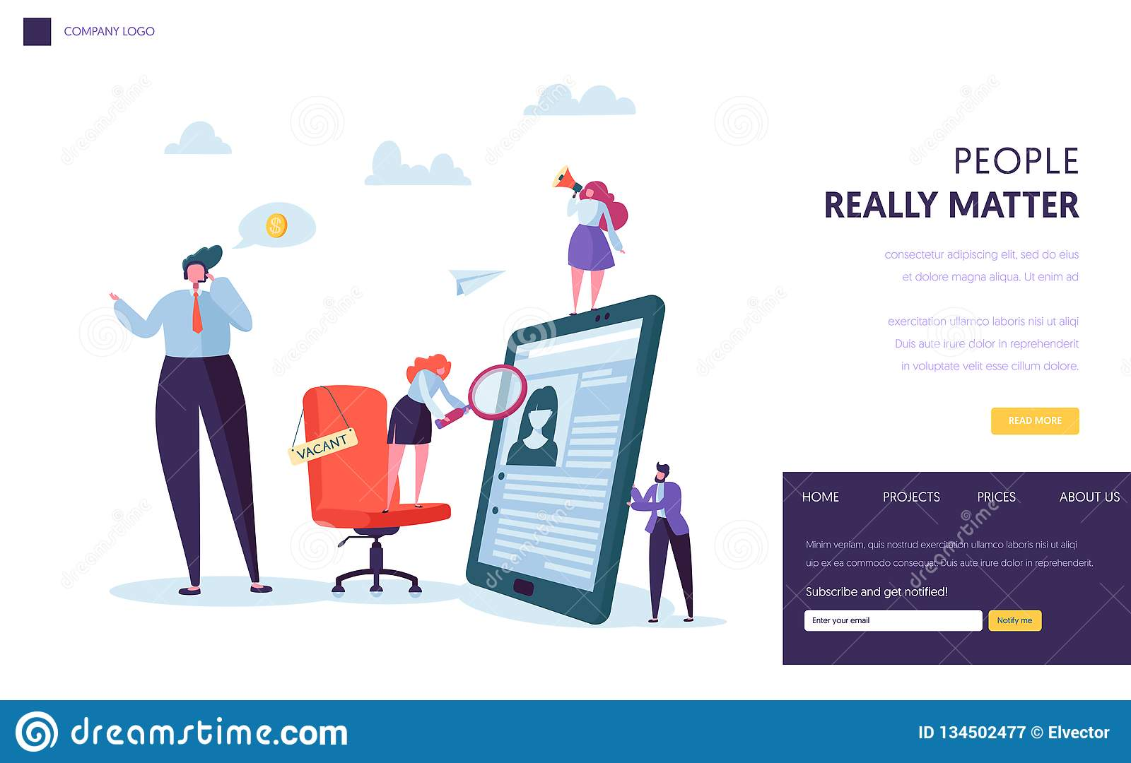 Business People Hiring New Staff Banner Design Office Chair With Vacancy Sign Recruit Career Talent Concept Website Stock Vector Illustration Of Candidate Page 134502477
