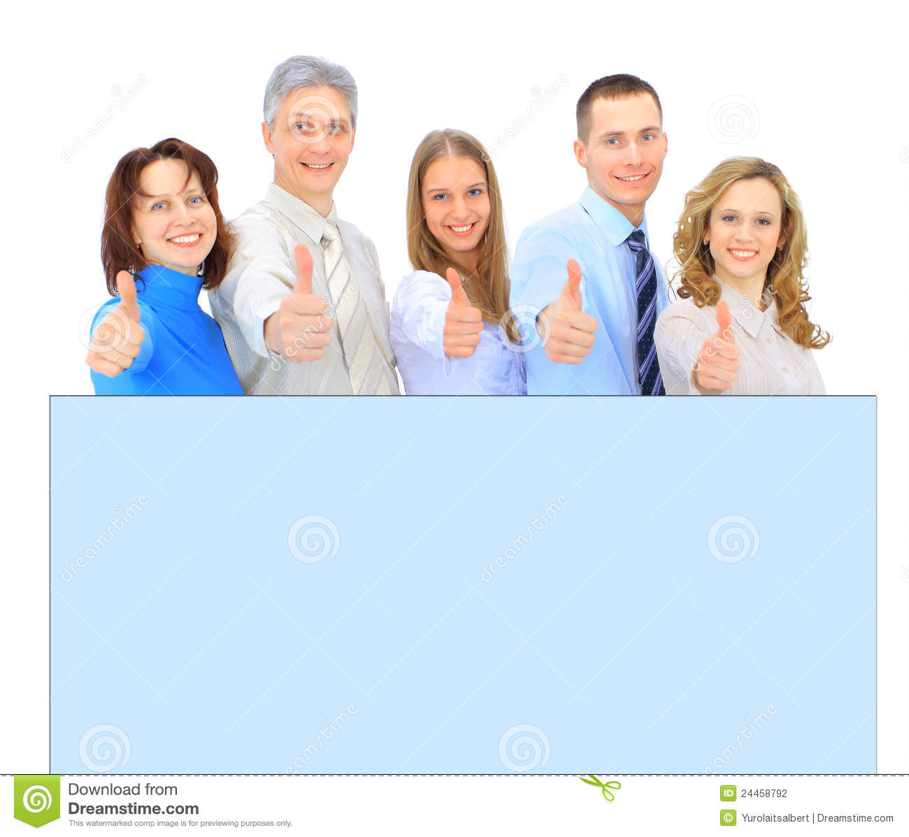 Business People Holding A Banner Ad Isolated On White