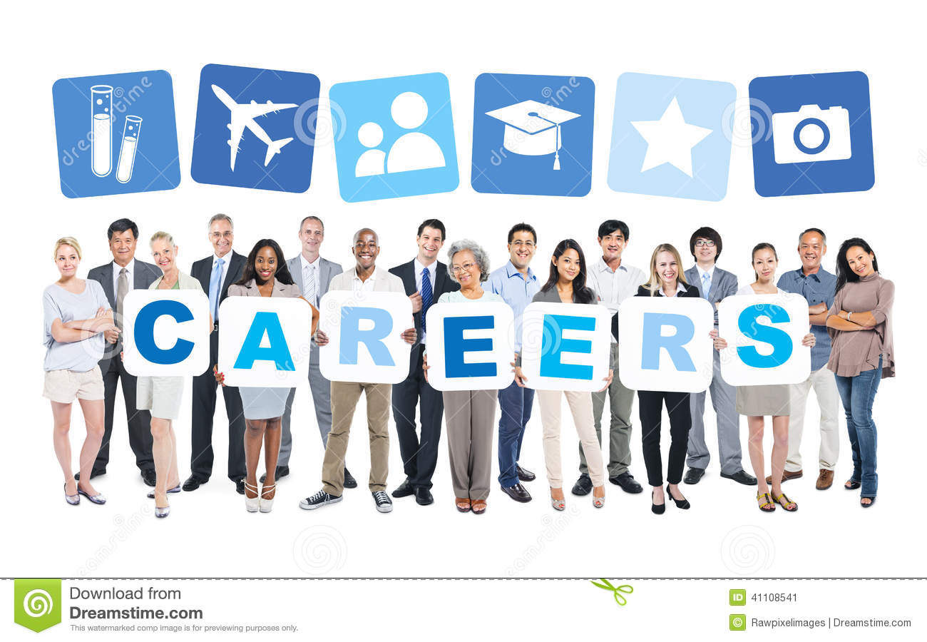 business people holding word careers and related symbols stock business people holding word careers and related symbols