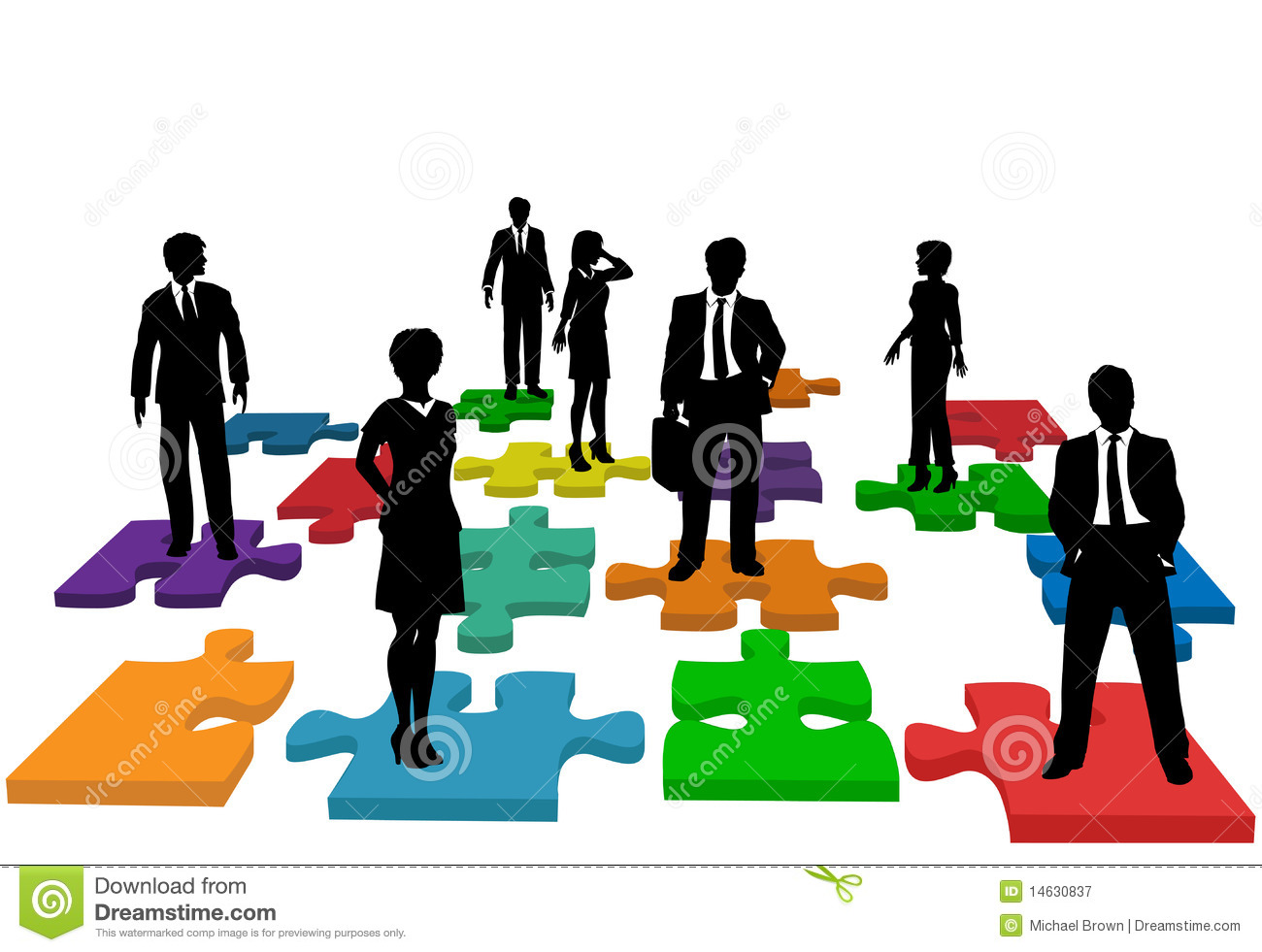 Business people human resources team puzzle