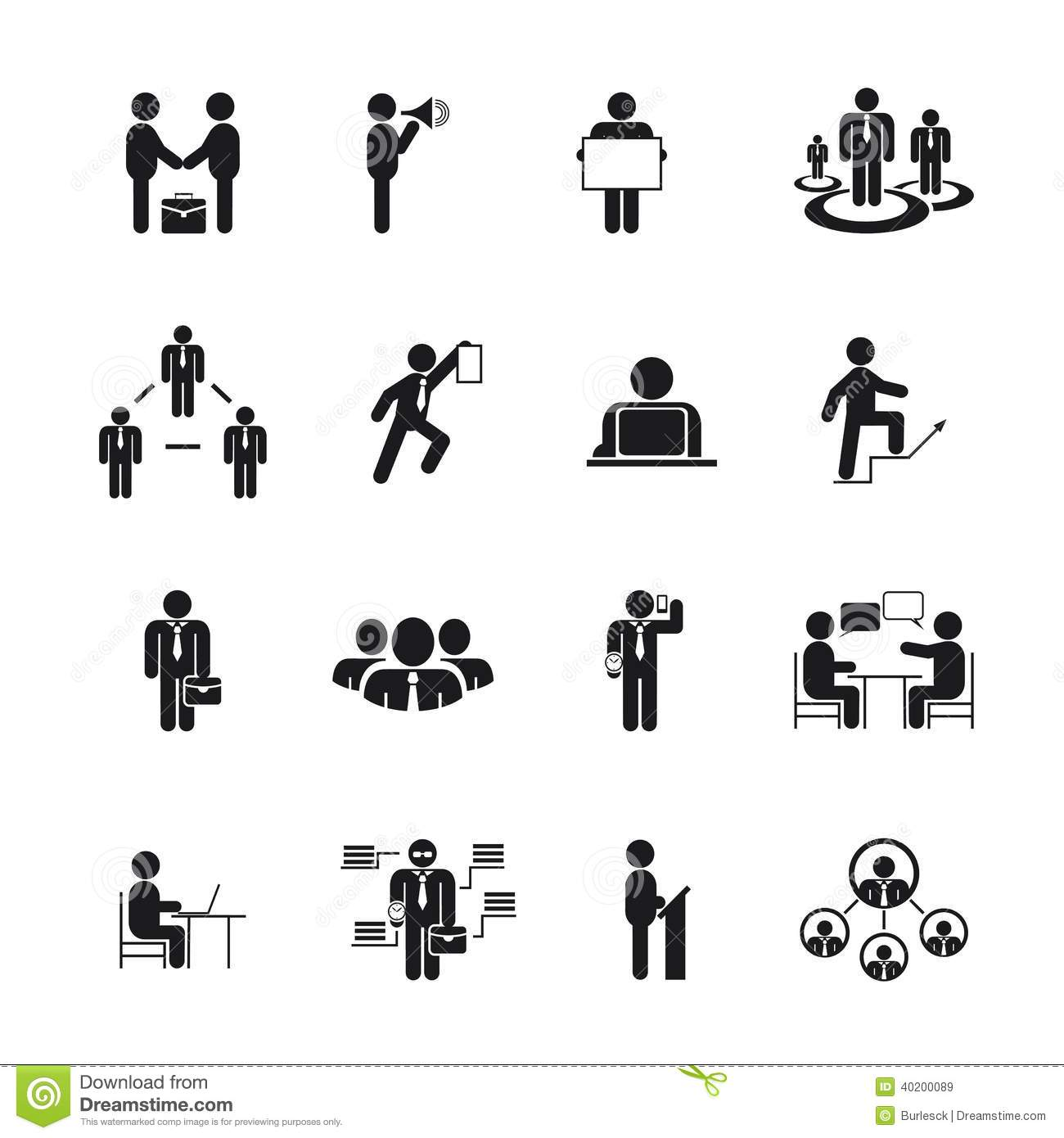 Business People Icons in different poses, vector black silhouettes