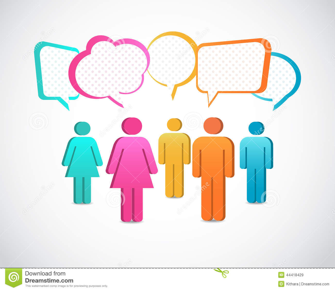 Business People With Colorful Speech Bubbles Stock Image