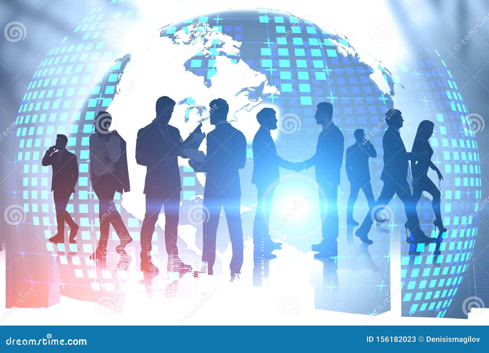 Business people and international partnership