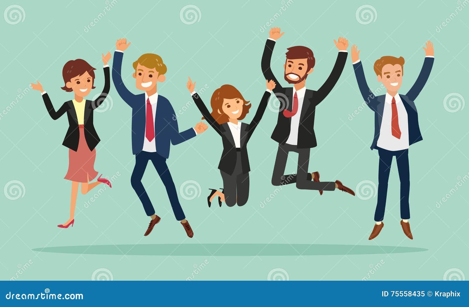 Business People Jumping Celebrating Success Cartoon ...