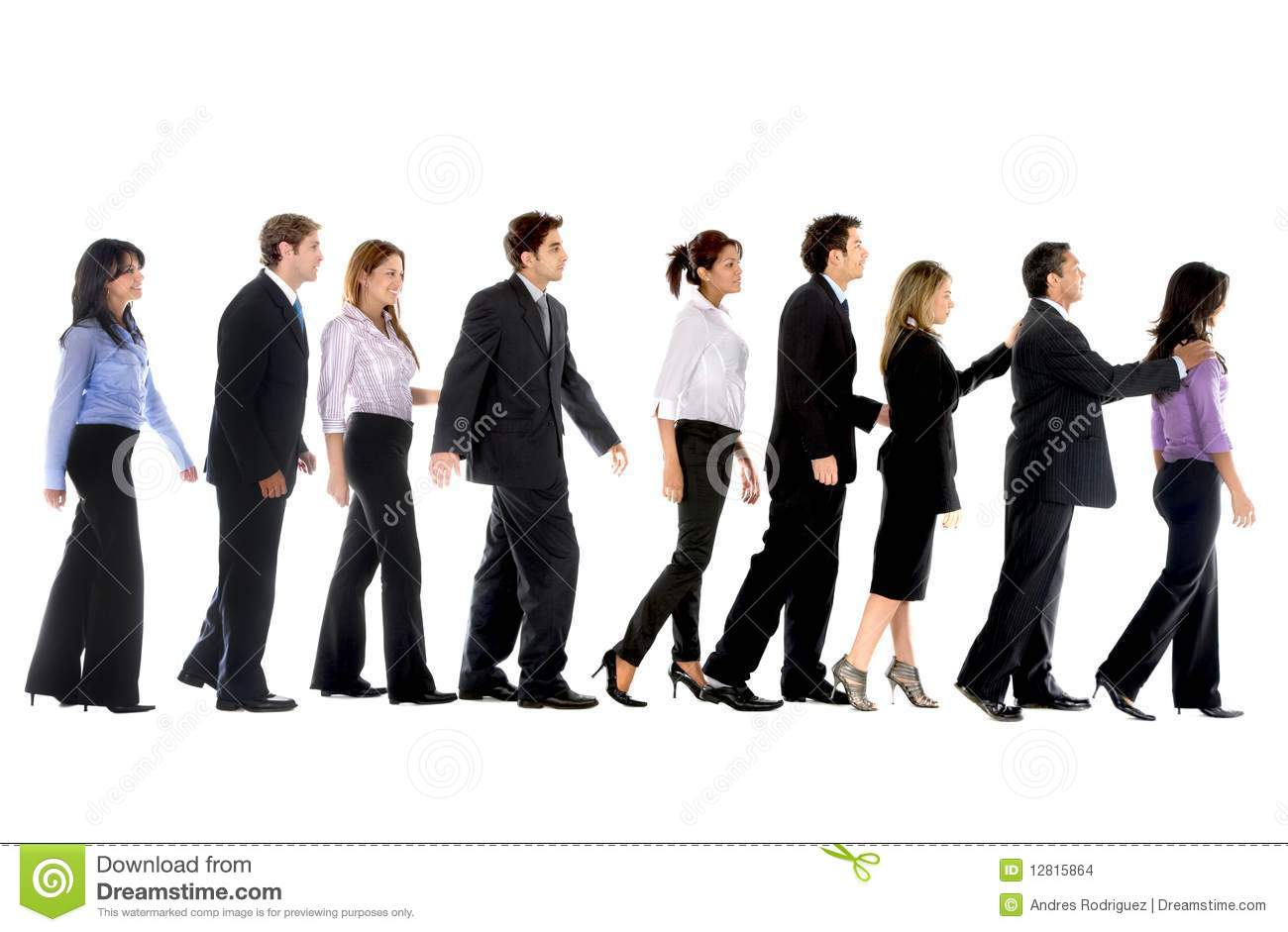 Group of business people in line isolated over a white background.