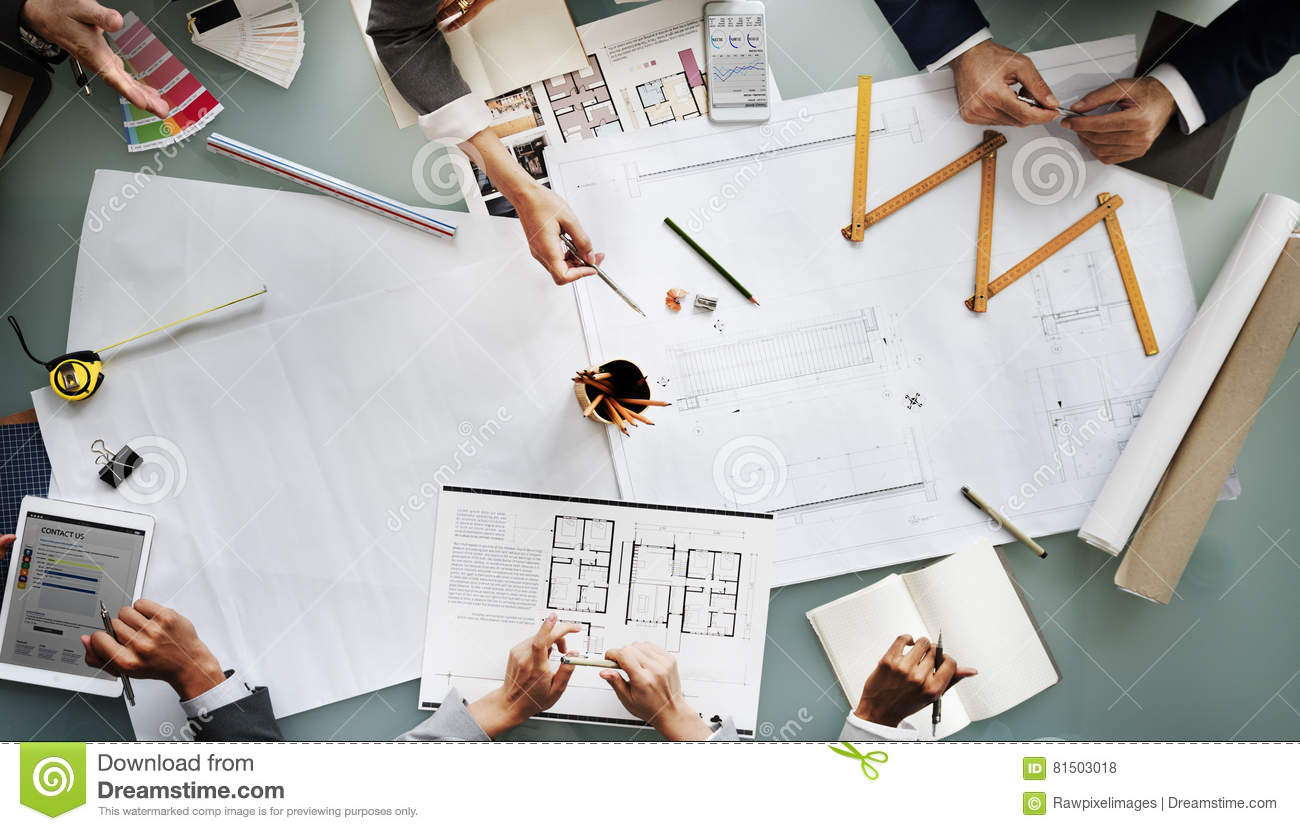 Business people meeting architecture blueprint design concept stock business people meeting architecture blueprint design concept malvernweather Choice Image