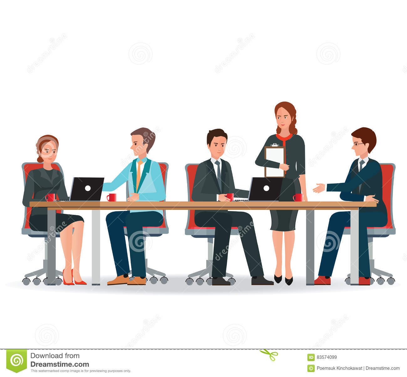Business Directors Meeting At Conference Desk Cartoon