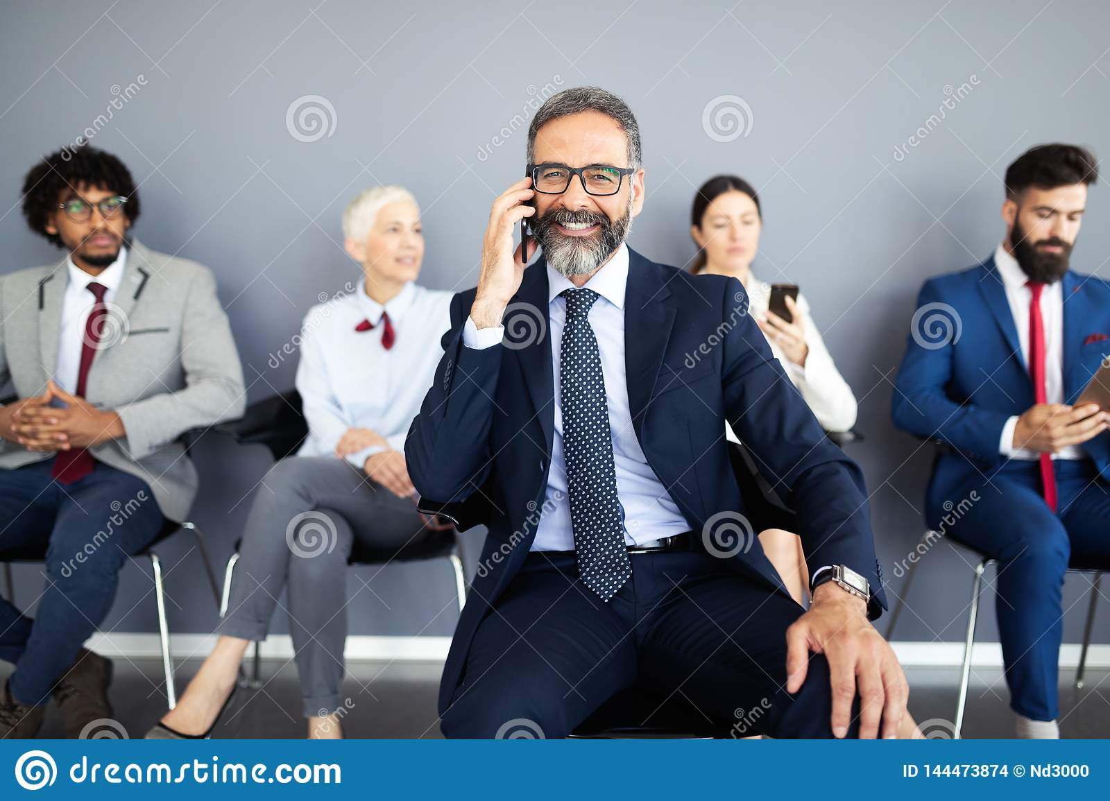 Business People Meeting Corporate Digital Device Connection Concept