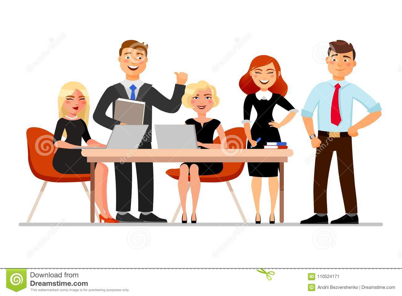 Business Meeting Vector Illustration Office Situation ... |Business Meeting Cartoon Person