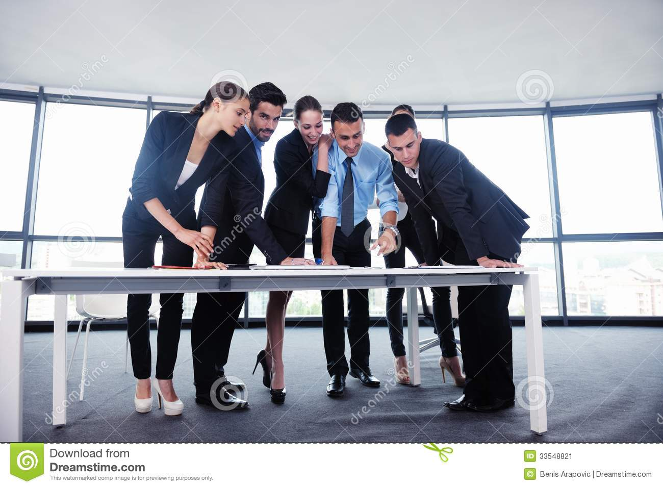 Group Of Business People Having Meeting In Office Stock Footage ...