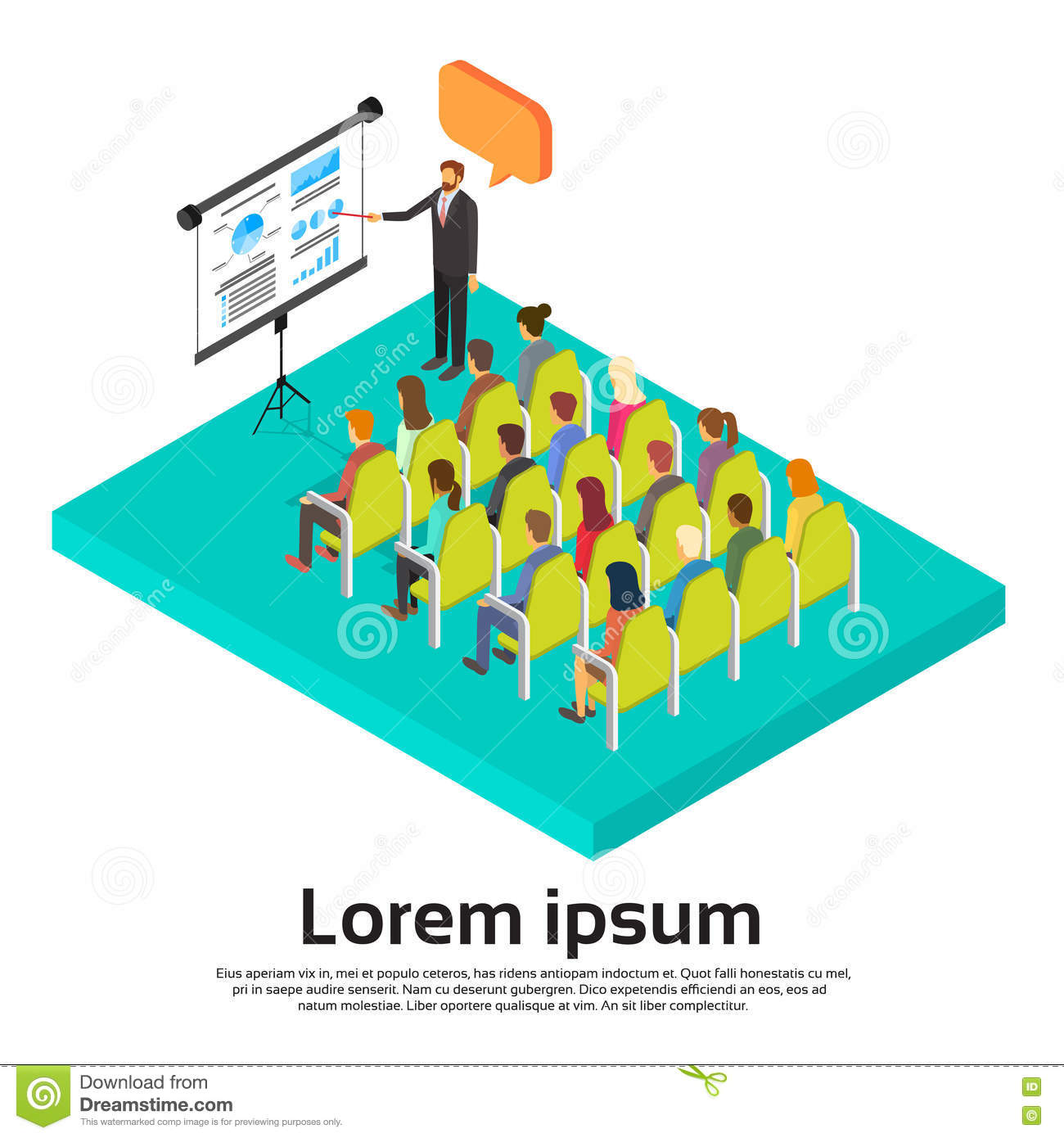 Isometric Exercises Chart: Business People Group At Meeting Seminar Presentation