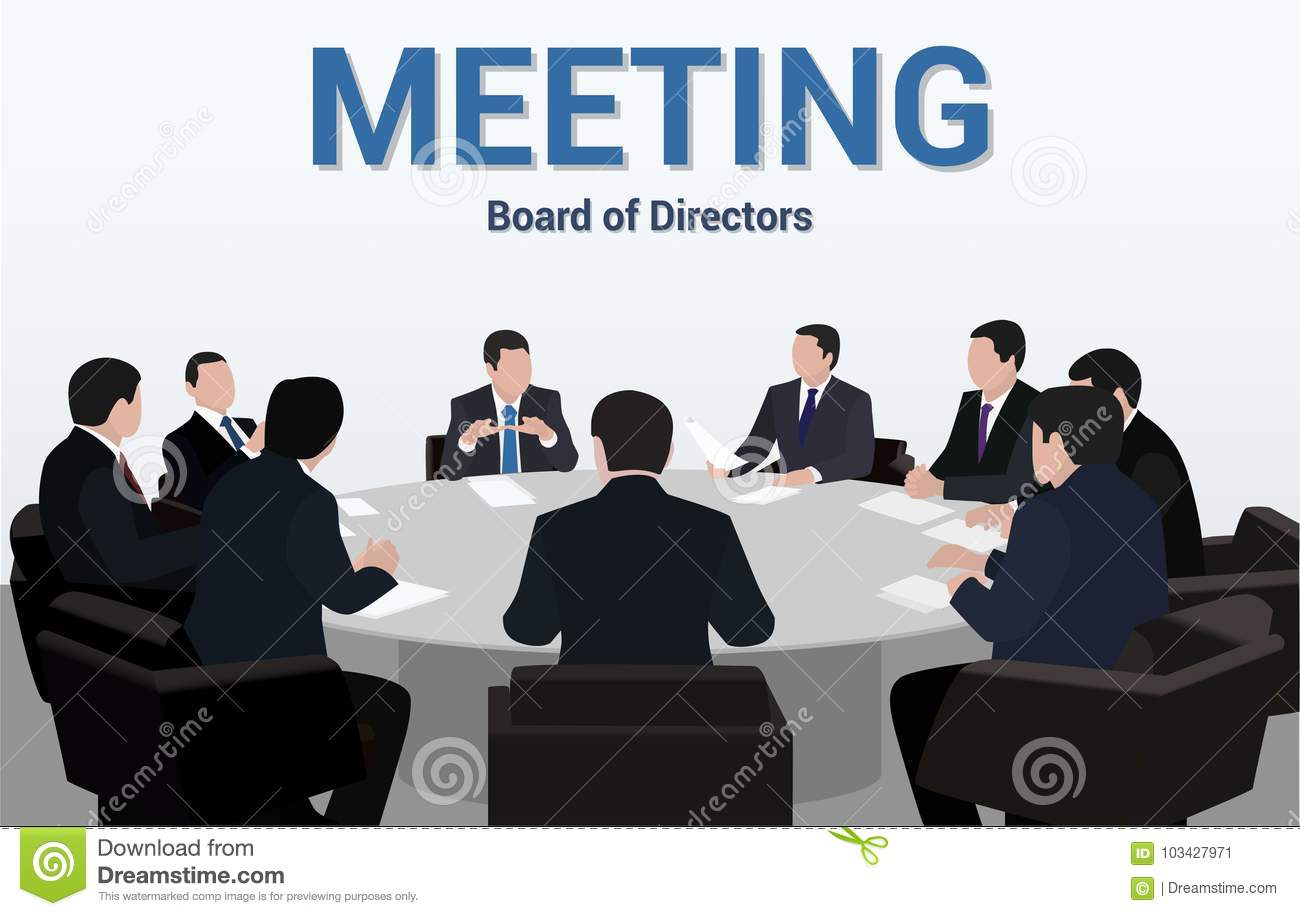 Picture of: Business Meeting A Group Of Businessmen Is Negotiating For A Round Table Stock Vector Illustration Of Partnership Businesspeople 103427971