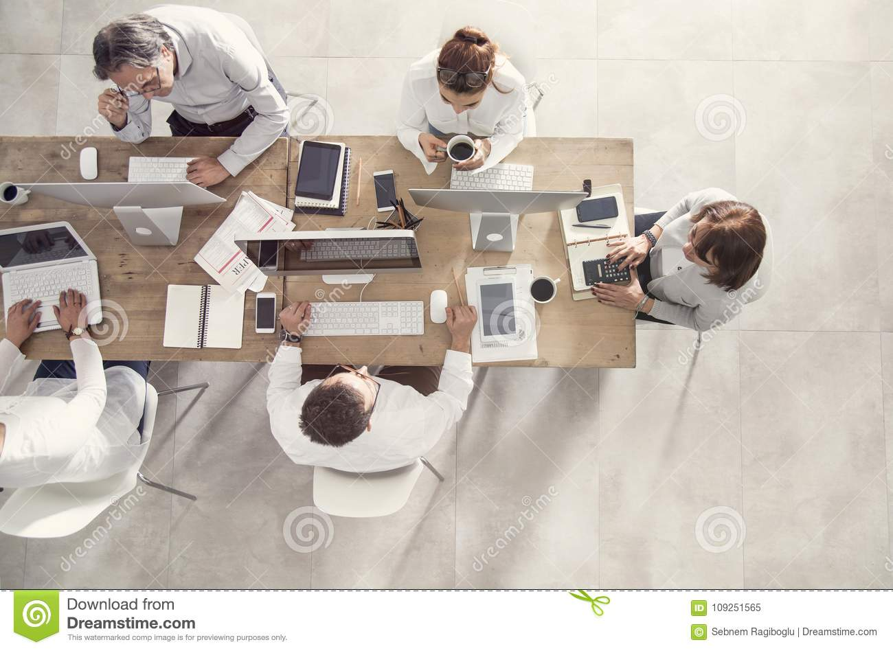 Business people in meeting table top view