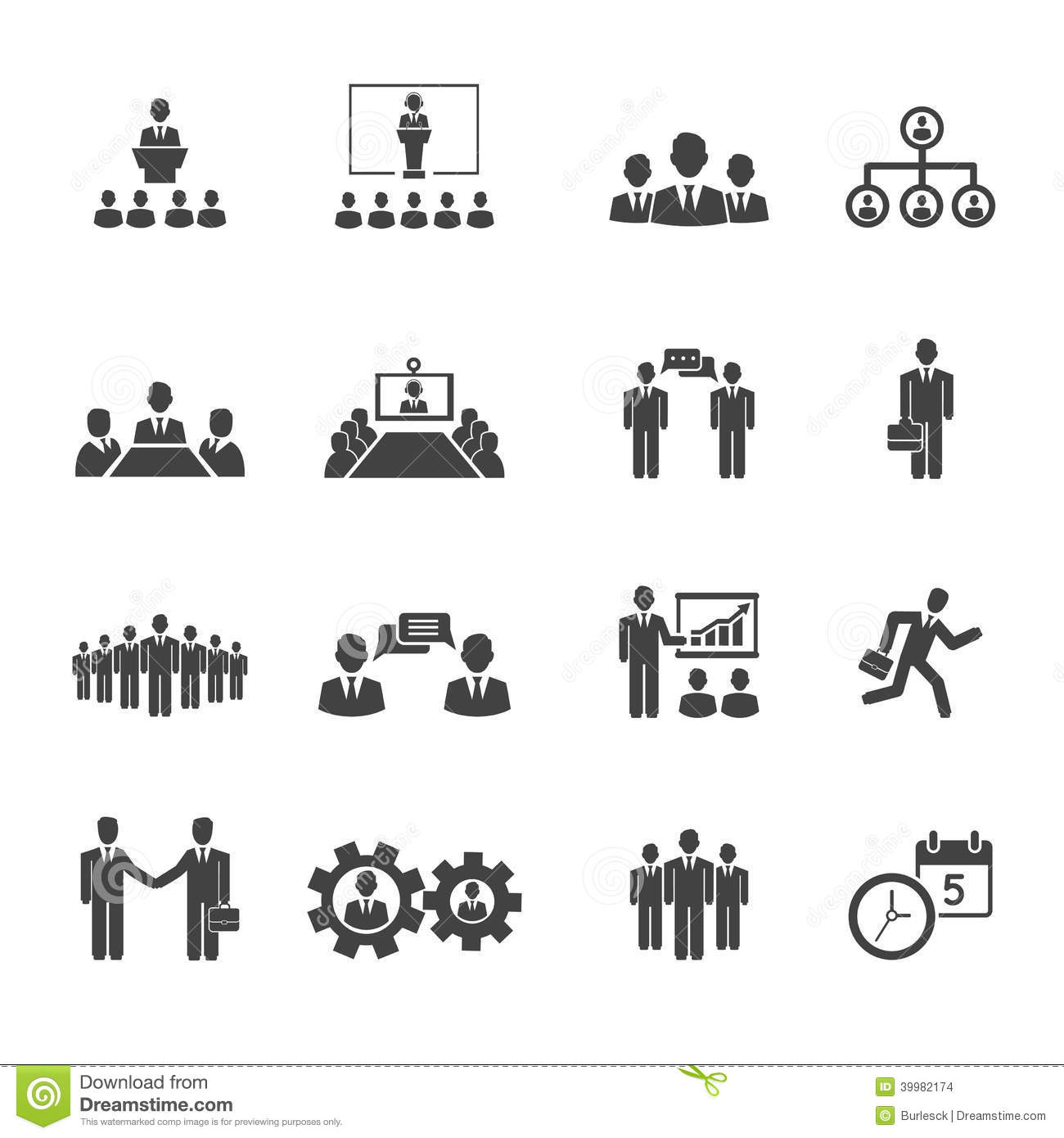 Business People Meetings And Conferences Icons Stock ...