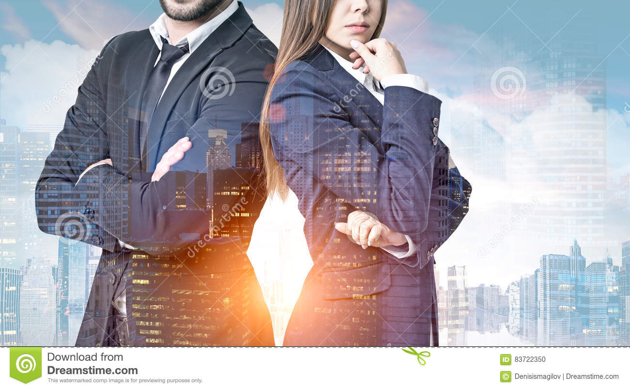 Business People In A Morning City Stock Photo