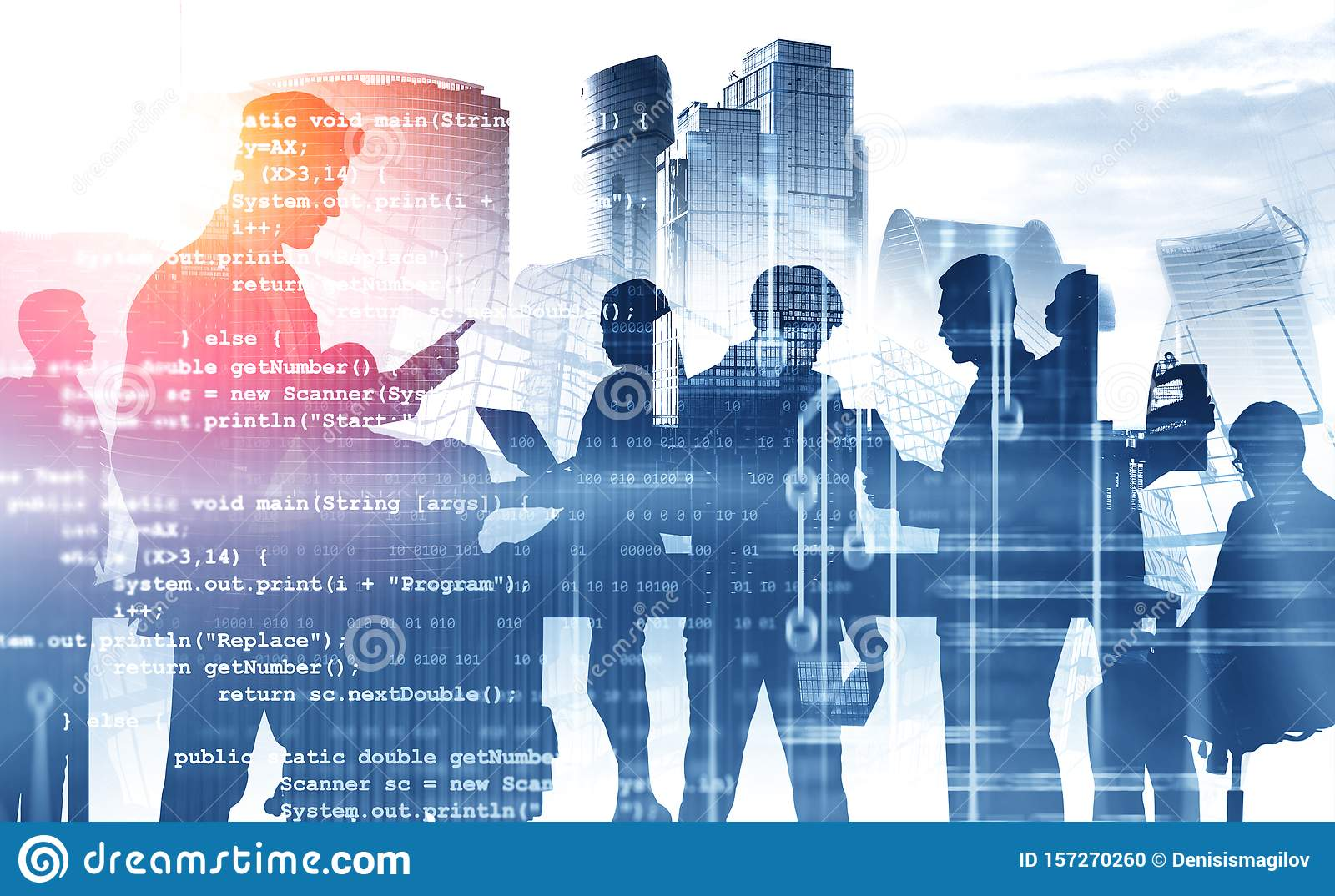 Business people in Moscow city, code