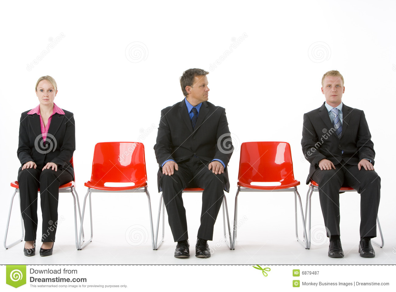 Business people plastic red seats sitting three