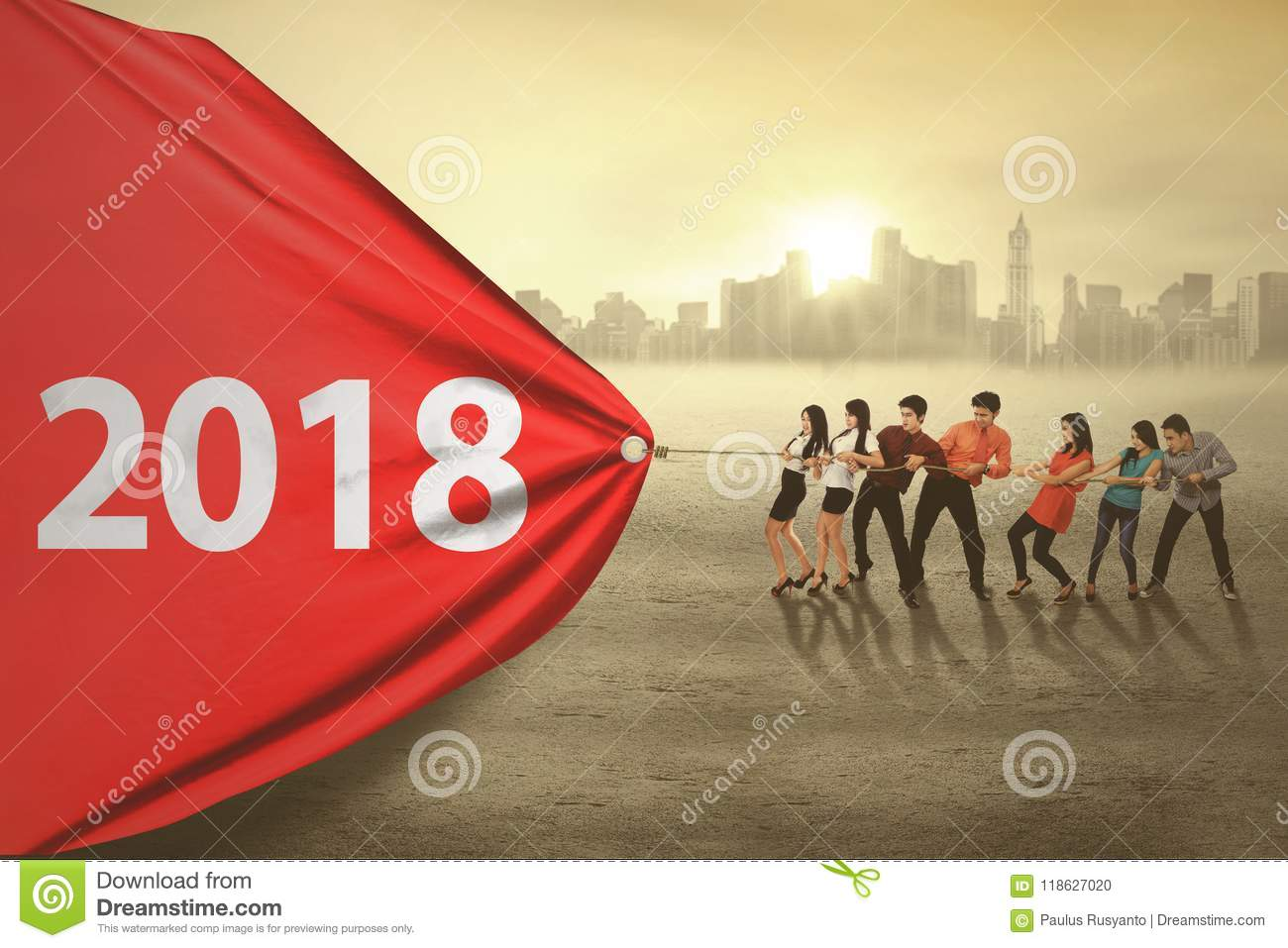Business people pulling numbers 2018