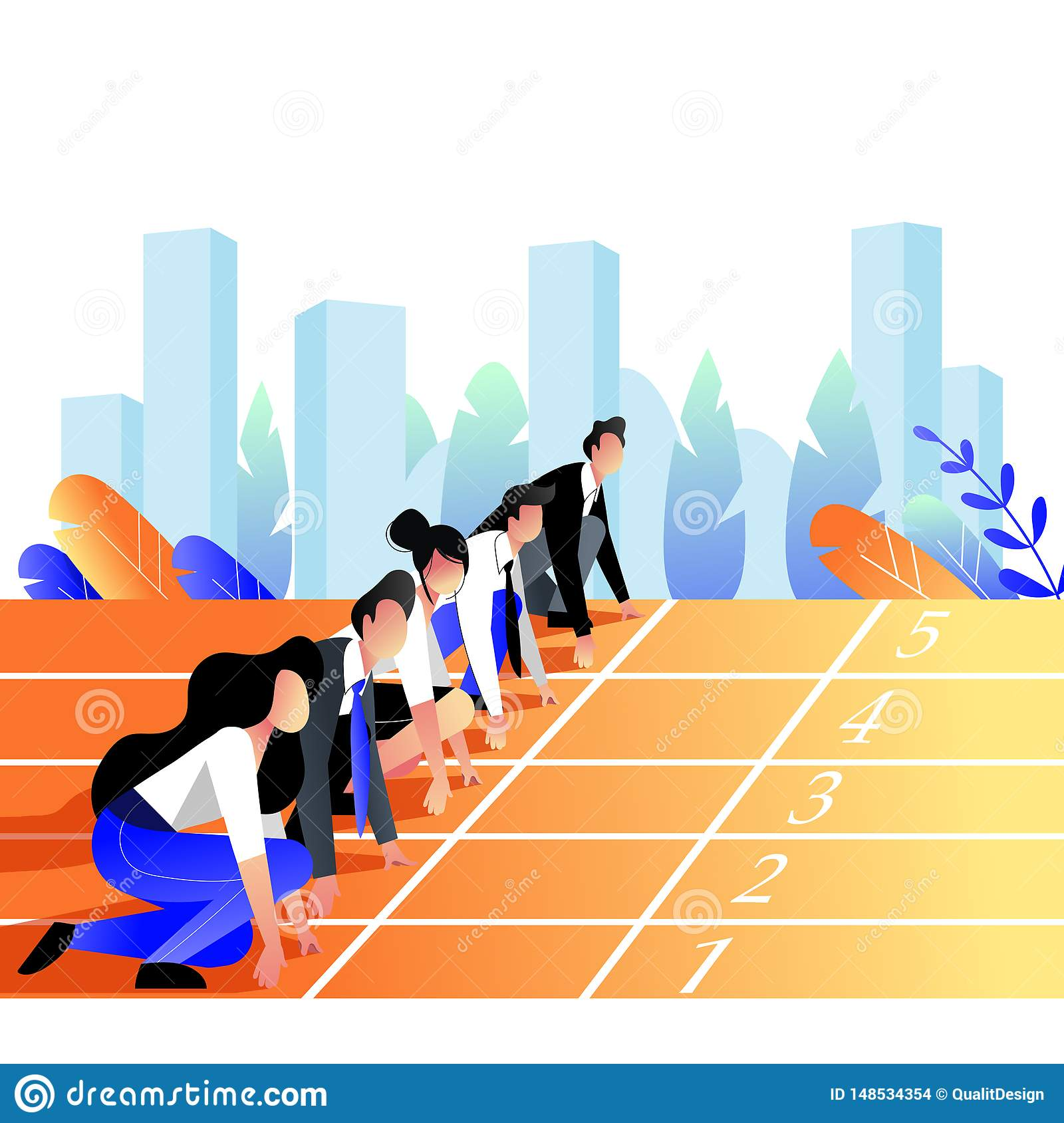 Business people race concept. Business people lined up getting ready for running on sport track. Vector illustration